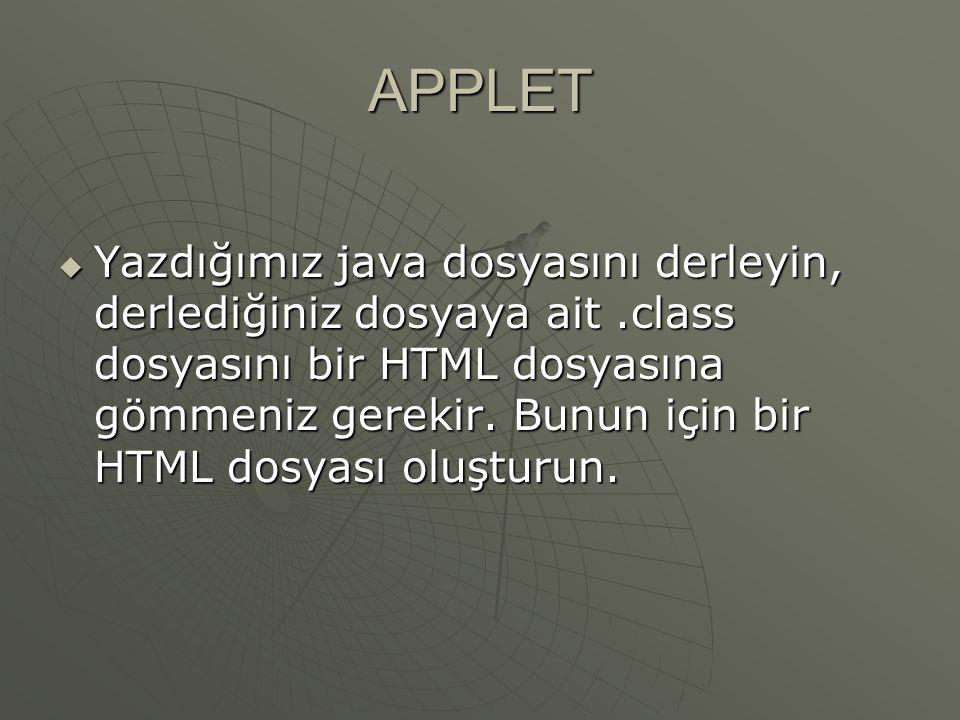 APPLET  HTML dosyasına applet gömmek.