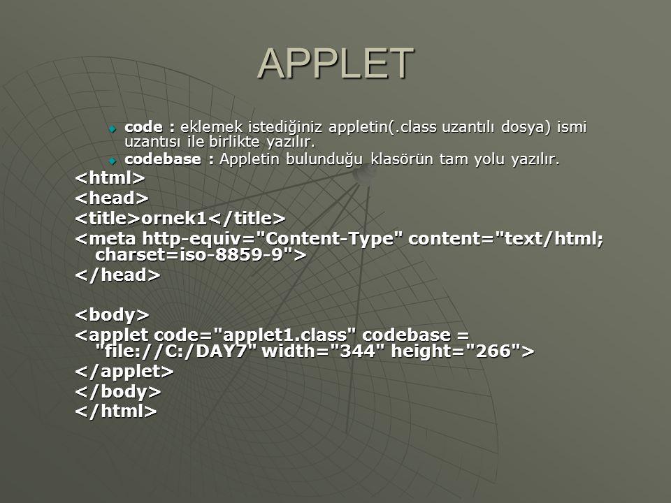 APPLET  JAVA destekleyen herhangi bir web tarayıcı ile hazıladığınız HTML dosyasını kontrol edebilirsiniz, veya JDK ile birlikte gelen appletviewer aracını kullanarak HTML dosyanızı test edebilirsiniz.