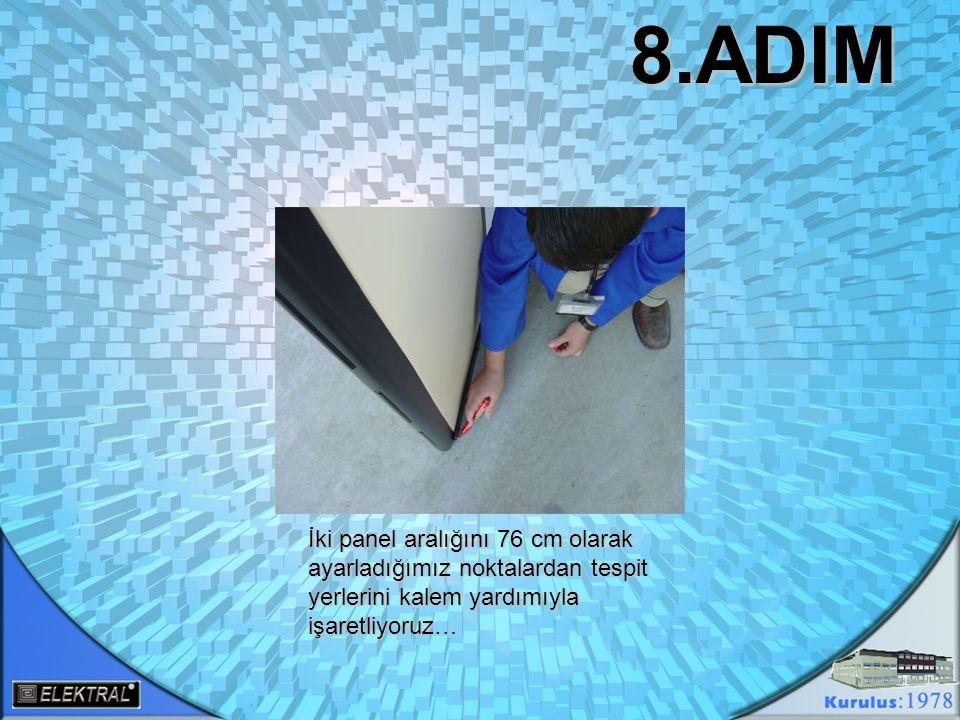 Yan panellerimizin ayaklarını paket içerisinden çıkan alyan anahtar yardımıyla çıkartıyoruz.Çıkarttığımız ayakları işaretlediğimiz noktalara getirip vida yuvalarının denk geldiği zemin noktasına matkap tardımıyla delikler açıyoruz..