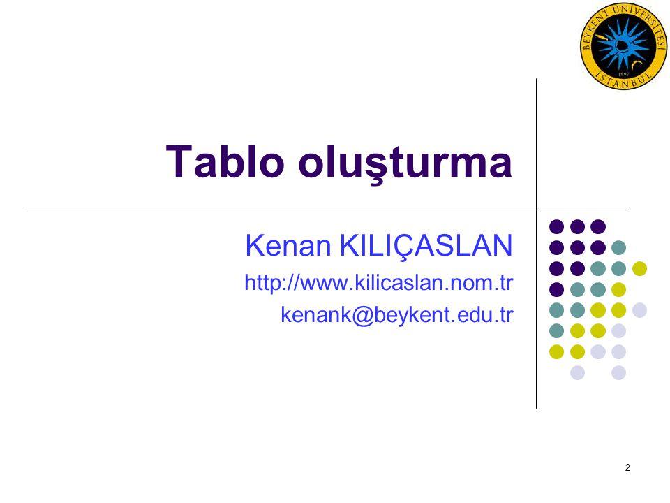 2 Tablo oluşturma Kenan KILIÇASLAN http://www.kilicaslan.nom.tr kenank@beykent.edu.tr