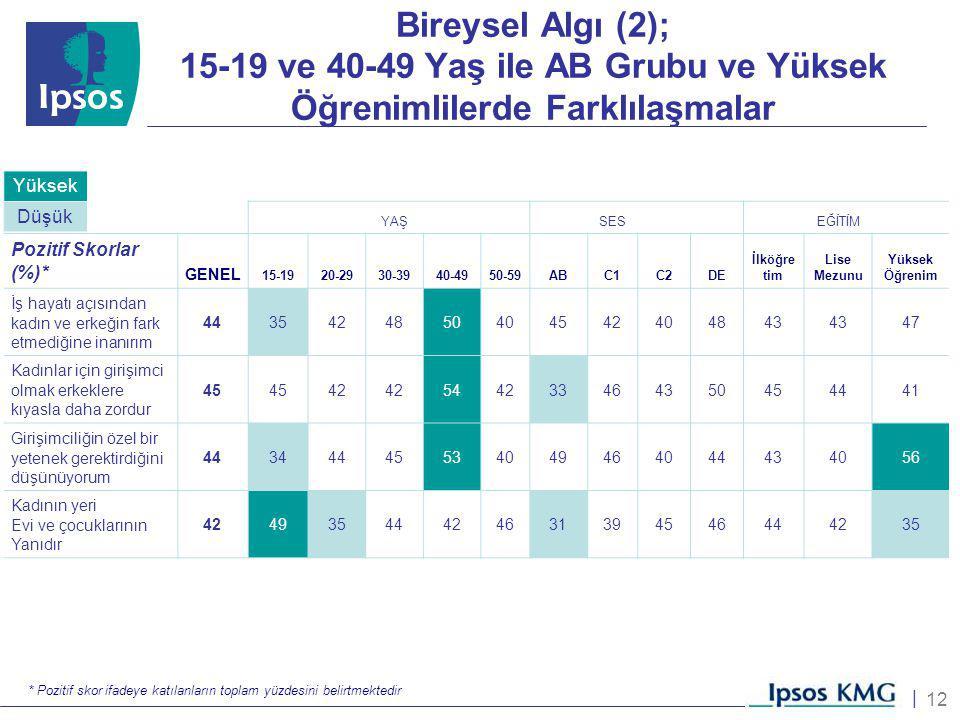 12 | Bireysel Algı (2); 15-19 ve 40-49 Yaş ile AB Grubu ve Yüksek Öğrenimlilerde Farklılaşmalar YAŞSESEĞİTİM Pozitif Skorlar (%)* GENEL 15-1920-2930-3