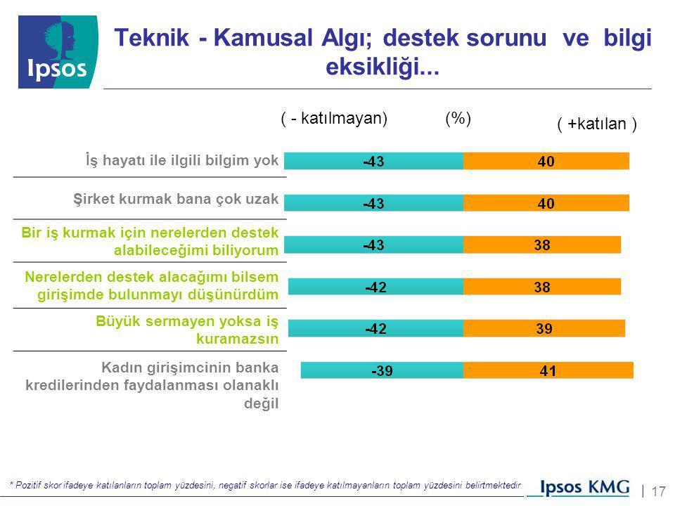 17 | Teknik - Kamusal Algı; destek sorunu ve bilgi eksikliği... * Pozitif skor ifadeye katılanların toplam yüzdesini, negatif skorlar ise ifadeye katı