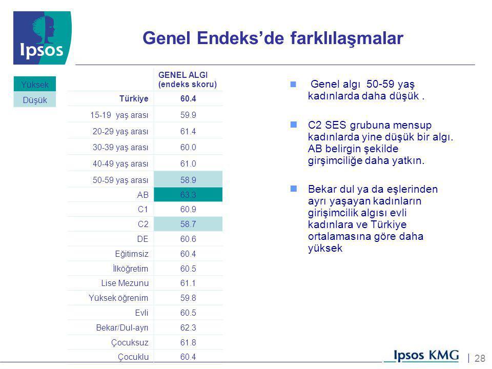28 | Genel Endeks'de farklılaşmalar GENEL ALGI (endeks skoru) Türkiye 60.4 15-19 yaş arası 59.9 20-29 yaş arası 61.4 30-39 yaş arası 60.0 40-49 yaş ar