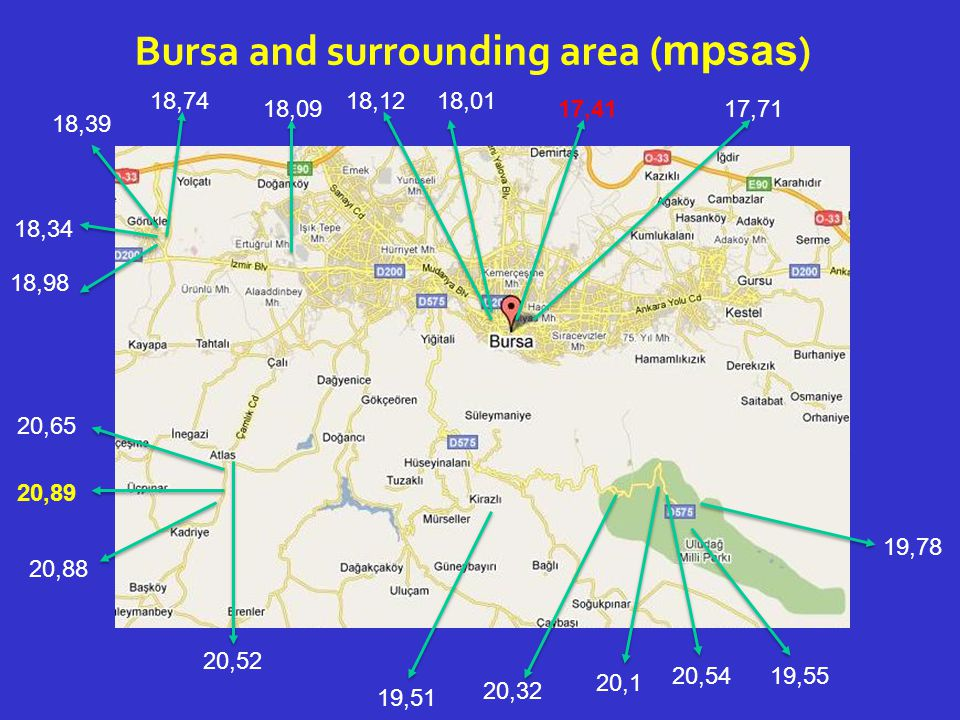 Bursa and surrounding area ( mpsas ) 20,89 20,88 20,65 20,52 19,51 20,32 20,1 20,54 19,78 19,55 18,09 18,74 18,39 18,34 18,98 18,1218,01 17,4117,71