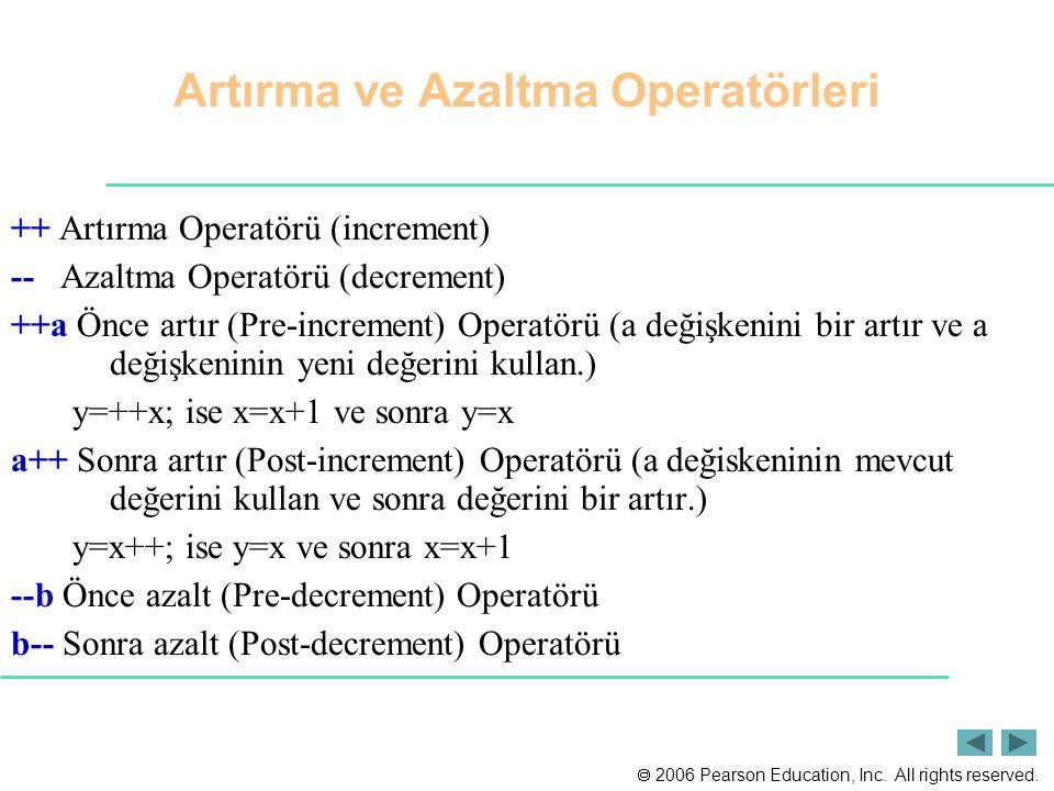 2006 Pearson Education, Inc. All rights reserved. ++ Artırma Operatörü (increment) -- Azaltma Operatörü (decrement) ++a Önce artır (Pre-increment) O