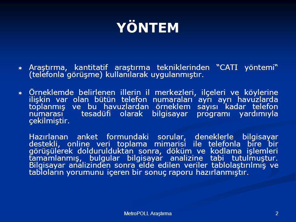 3MetroPOLL Araştırma Bu a raştırma; Türkiye'deki 81 il'de 23 Mart 200 9 tarih inde toplam 4280 kiş iyle yapılmıştır.