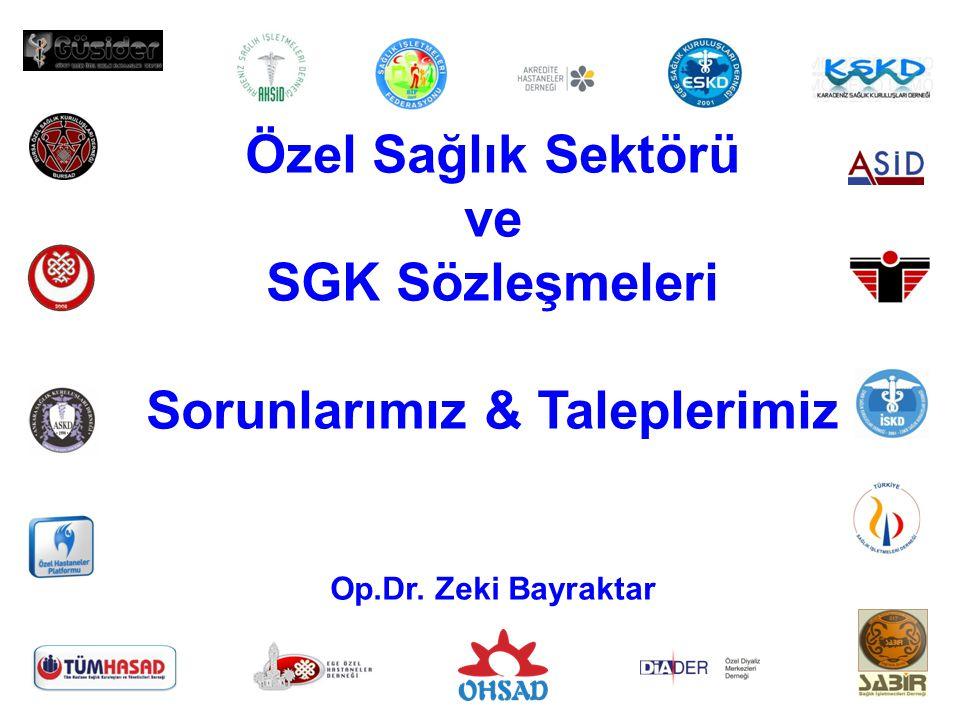 1 Özel Sağlık Sektörü ve SGK Sözleşmeleri Sorunlarımız & Taleplerimiz Op.Dr. Zeki Bayraktar