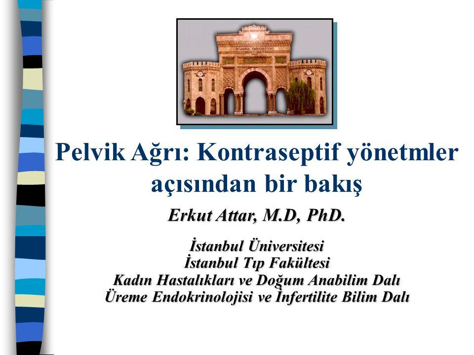 Pelvik Ağrı: Kontraseptif yönetmler açısından bir bakış Erkut Attar, M.D, PhD. İstanbul Üniversitesi İstanbul Tıp Fakültesi Kadın Hastalıkları ve Doğu