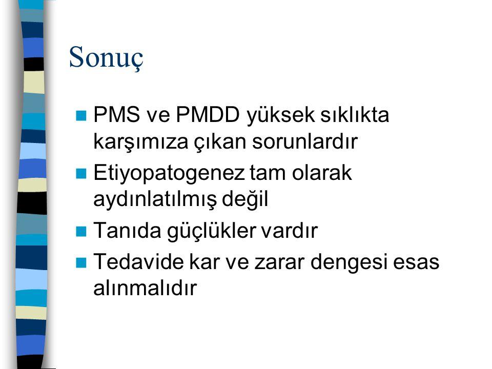 Sonuç PMS ve PMDD yüksek sıklıkta karşımıza çıkan sorunlardır Etiyopatogenez tam olarak aydınlatılmış değil Tanıda güçlükler vardır Tedavide kar ve za