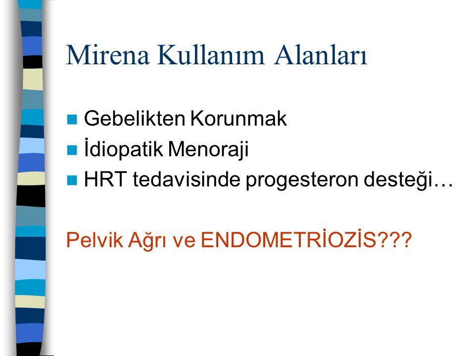 Mirena Kullanım Alanları Gebelikten Korunmak İdiopatik Menoraji HRT tedavisinde progesteron desteği… Pelvik Ağrı ve ENDOMETRİOZİS???