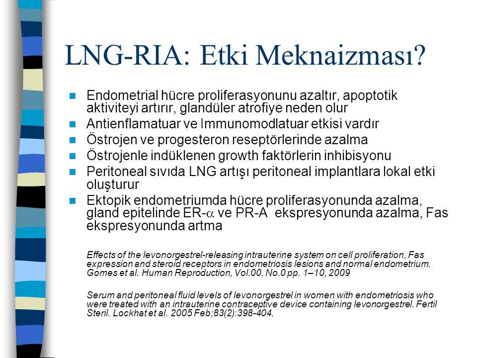LNG-RIA: Etki Meknaizması? Endometrial hücre proliferasyonunu azaltır, apoptotik aktiviteyi artırır, glandüler atrofiye neden olur Antienflamatuar ve