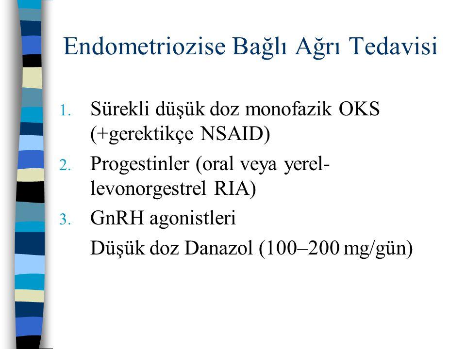 Endometriozise Bağlı Ağrı Tedavisi 1. Sürekli düşük doz monofazik OKS (+gerektikçe NSAID) 2. Progestinler (oral veya yerel- levonorgestrel RIA) 3. GnR