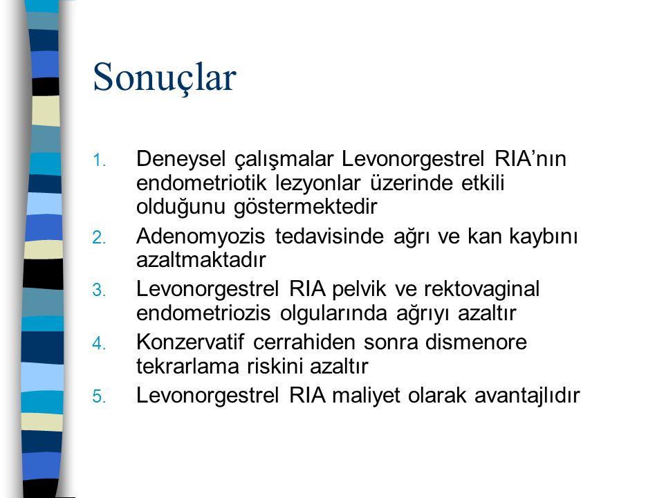 Sonuçlar 1. Deneysel çalışmalar Levonorgestrel RIA'nın endometriotik lezyonlar üzerinde etkili olduğunu göstermektedir 2. Adenomyozis tedavisinde ağrı