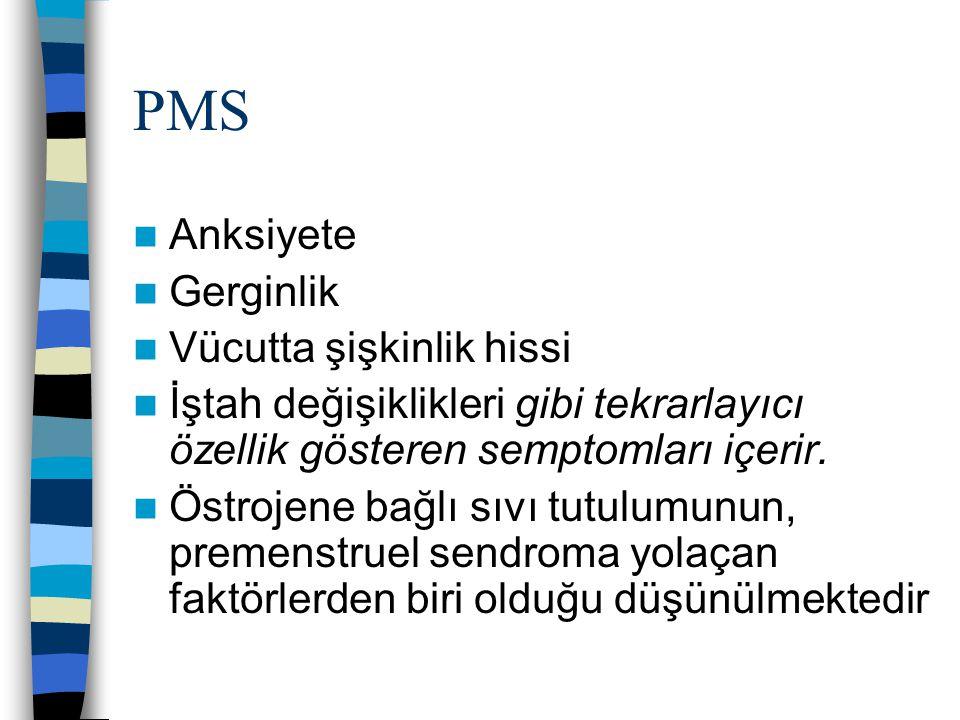 PMS Anksiyete Gerginlik Vücutta şişkinlik hissi İştah değişiklikleri gibi tekrarlayıcı özellik gösteren semptomları içerir. Östrojene bağlı sıvı tutul