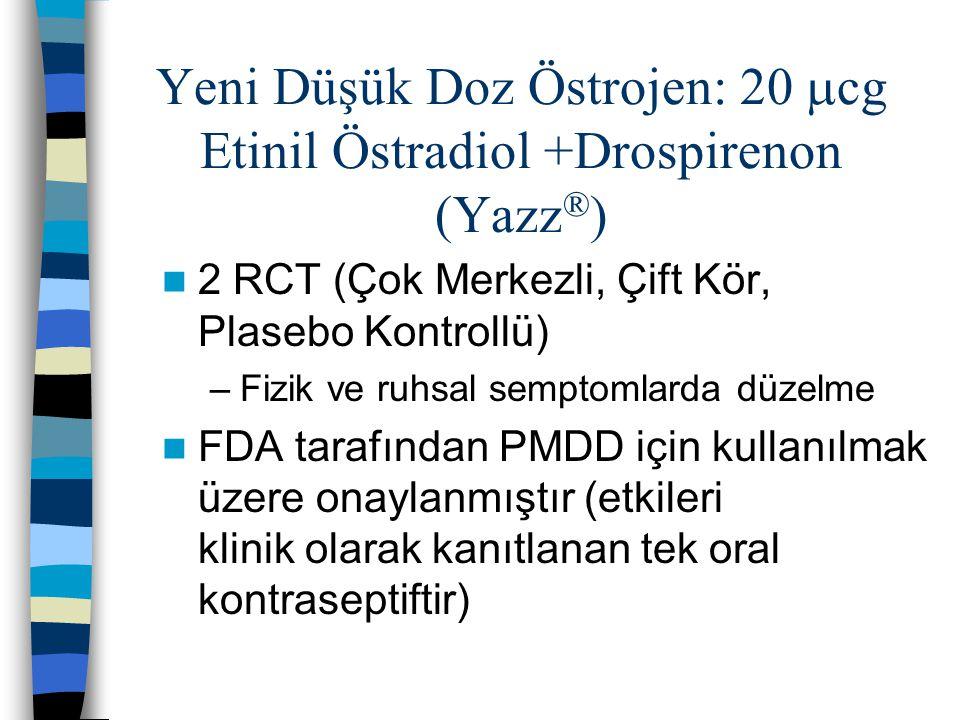 Yeni Düşük Doz Östrojen: 20  cg Etinil Östradiol +Drospirenon (Yazz ® ) 2 RCT (Çok Merkezli, Çift Kör, Plasebo Kontrollü) –Fizik ve ruhsal semptomlar