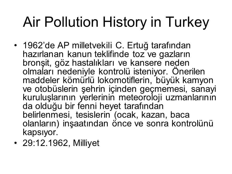 Air Pollution History in Turkey 1962'de AP milletvekili C. Ertuğ tarafından hazırlanan kanun teklifinde toz ve gazların bronşit, göz hastalıkları ve k
