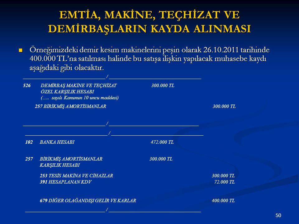 50 EMTİA, MAKİNE, TEÇHİZAT VE DEMİRBAŞLARIN KAYDA ALINMASI Örneğimizdeki demir kesim makinelerini peşin olarak 26.10.2011 tarihinde 400.000 TL'na satı