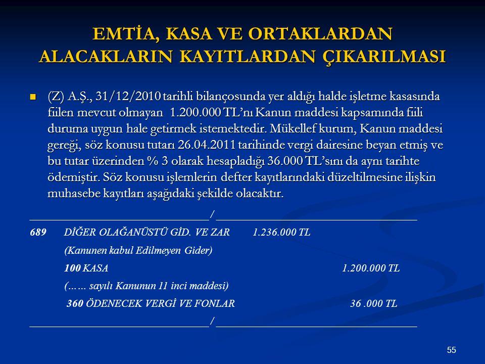 55 EMTİA, KASA VE ORTAKLARDAN ALACAKLARIN KAYITLARDAN ÇIKARILMASI (Z) A.Ş., 31/12/2010 tarihli bilançosunda yer aldığı halde işletme kasasında fiilen