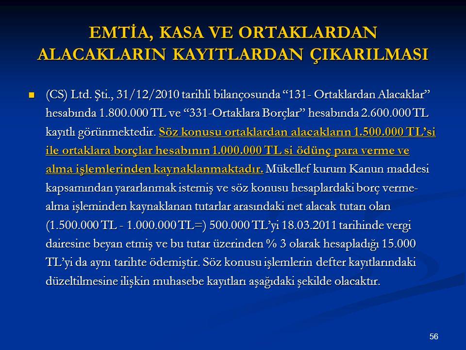 """56 EMTİA, KASA VE ORTAKLARDAN ALACAKLARIN KAYITLARDAN ÇIKARILMASI (CS) Ltd. Şti., 31/12/2010 tarihli bilançosunda """"131- Ortaklardan Alacaklar"""" hesabın"""