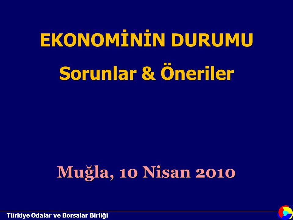 Türkiye Odalar ve Borsalar Birliği EKONOMİNİN DURUMU Sorunlar & Öneriler Muğla, 10 Nisan 2010