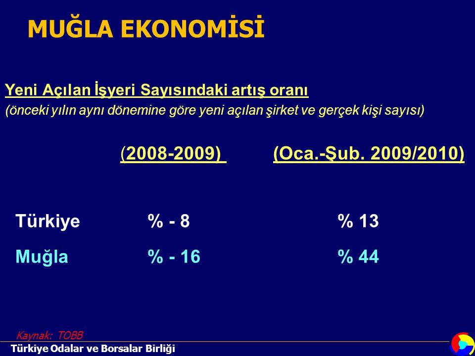 Yeni Açılan İşyeri Sayısındaki artış oranı (önceki yılın aynı dönemine göre yeni açılan şirket ve gerçek kişi sayısı) (2008-2009) (Oca.-Şub.
