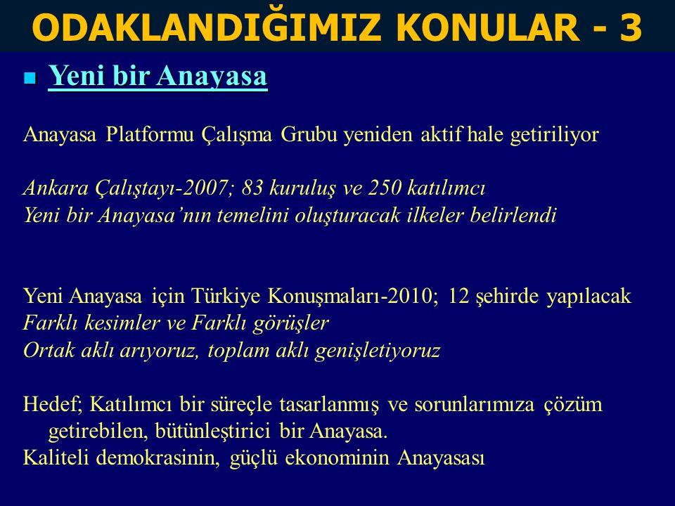 ODAKLANDIĞIMIZ KONULAR - 3 Yeni bir Anayasa Yeni bir Anayasa Anayasa Platformu Çalışma Grubu yeniden aktif hale getiriliyor Ankara Çalıştayı-2007; 83 kuruluş ve 250 katılımcı Yeni bir Anayasa'nın temelini oluşturacak ilkeler belirlendi Yeni Anayasa için Türkiye Konuşmaları-2010; 12 şehirde yapılacak Farklı kesimler ve Farklı görüşler Ortak aklı arıyoruz, toplam aklı genişletiyoruz Hedef; Katılımcı bir süreçle tasarlanmış ve sorunlarımıza çözüm getirebilen, bütünleştirici bir Anayasa.