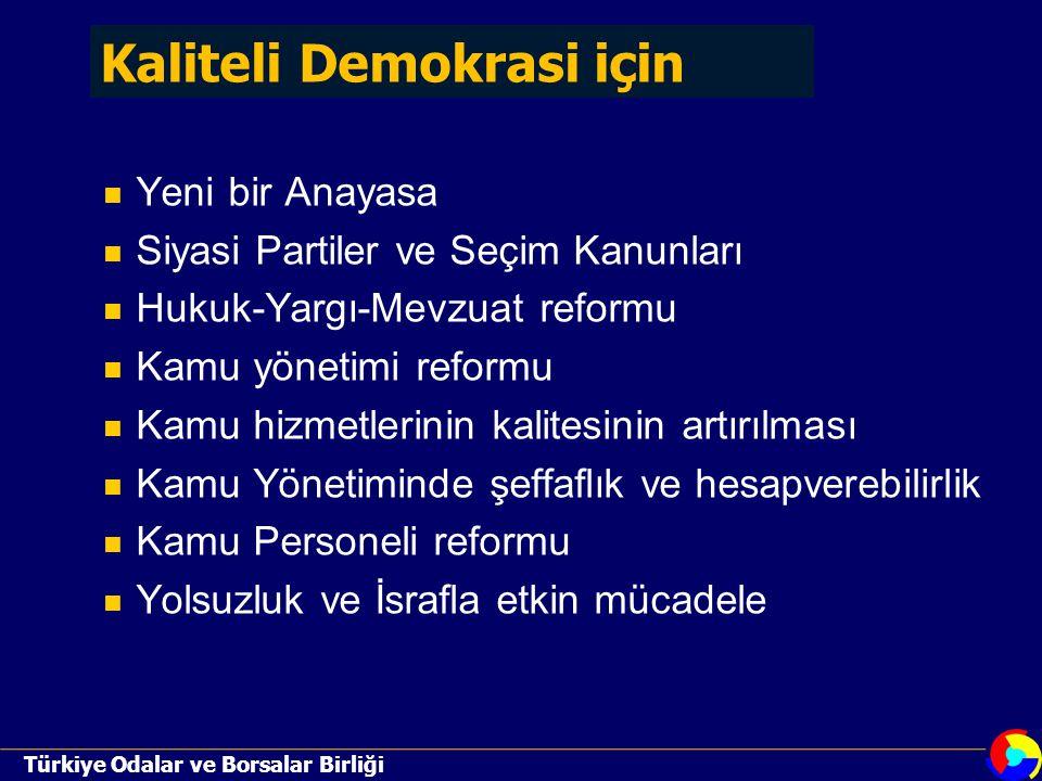 Türkiye Odalar ve Borsalar Birliği Yeni bir Anayasa Siyasi Partiler ve Seçim Kanunları Hukuk-Yargı-Mevzuat reformu Kamu yönetimi reformu Kamu hizmetlerinin kalitesinin artırılması Kamu Yönetiminde şeffaflık ve hesapverebilirlik Kamu Personeli reformu Yolsuzluk ve İsrafla etkin mücadele Kaliteli Demokrasi için