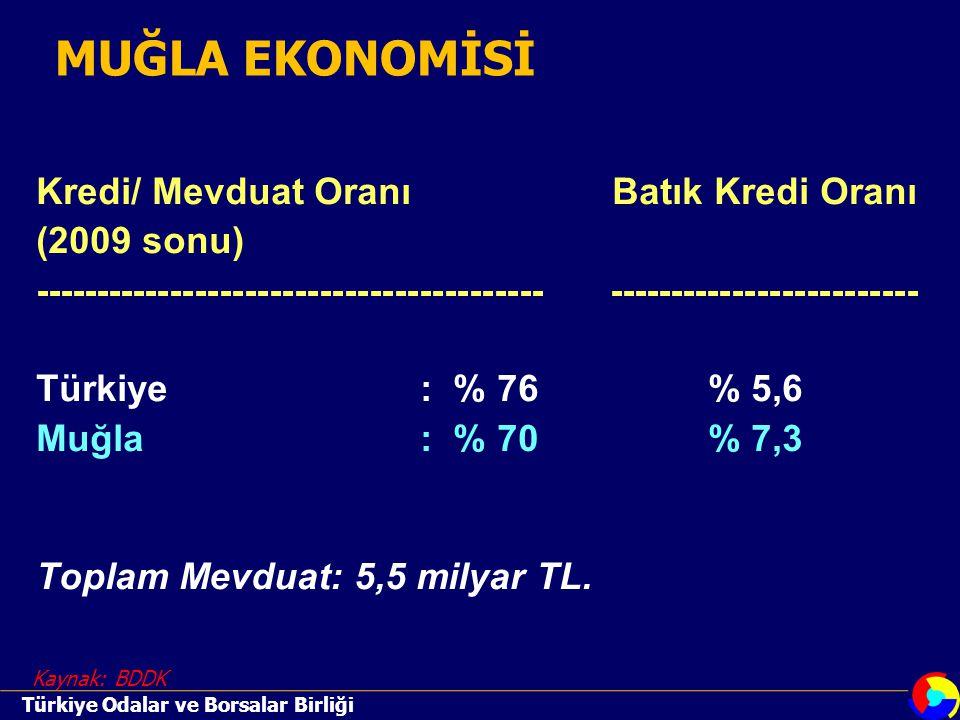 Kredi/ Mevduat OranıBatık Kredi Oranı (2009 sonu) ----------------------------------------- ------------------------- Türkiye: % 76% 5,6 Muğla : % 70 % 7,3 Toplam Mevduat: 5,5 milyar TL.
