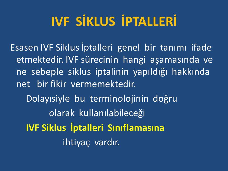 IVF SİKLUS İPTALLERİ Esasen IVF Siklus İptalleri genel bir tanımı ifade etmektedir.