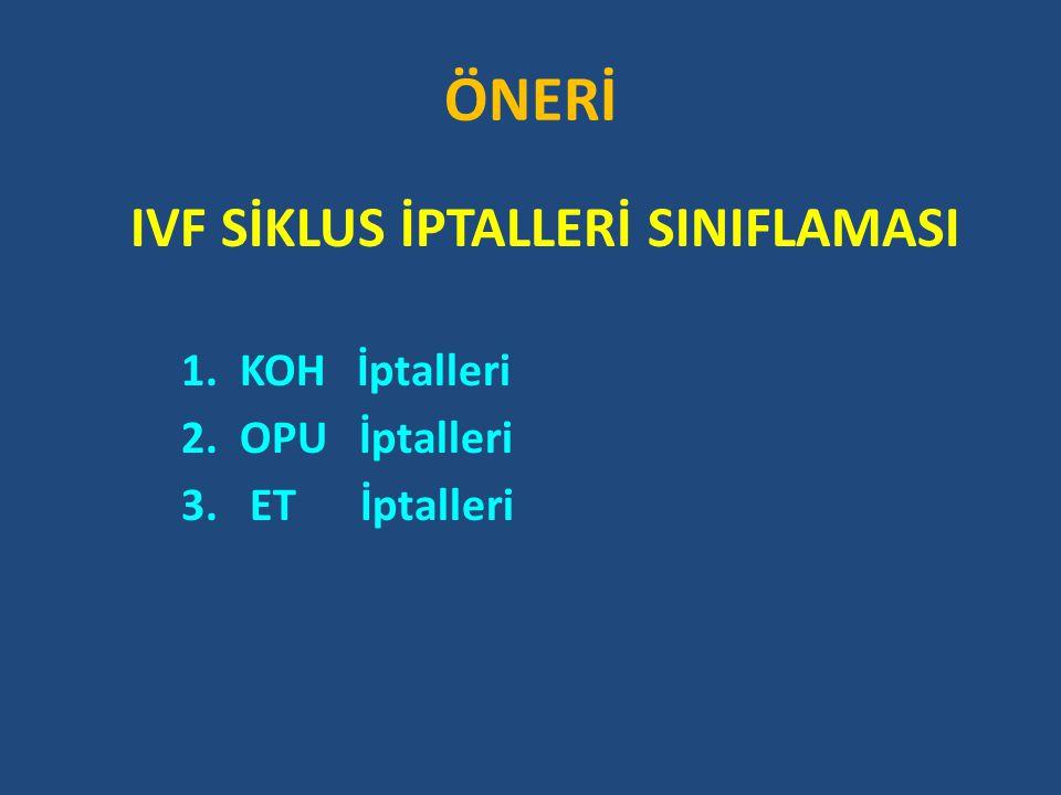 ÖNERİ IVF SİKLUS İPTALLERİ SINIFLAMASI 1. KOH İptalleri 2. OPU İptalleri 3. ET İptalleri