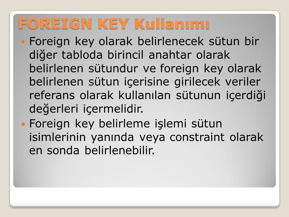 Foreign key olarak belirlenecek sütun bir diğer tabloda birincil anahtar olarak belirlenen sütundur ve foreign key olarak belirlenen sütun içerisine g
