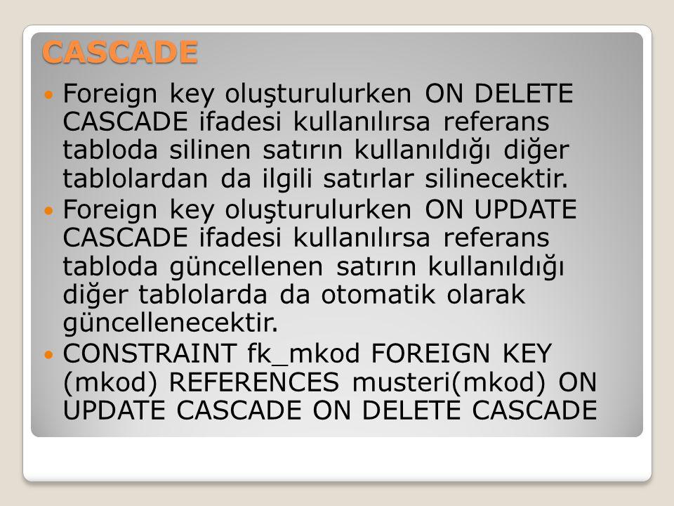 CASCADE Foreign key oluşturulurken ON DELETE CASCADE ifadesi kullanılırsa referans tabloda silinen satırın kullanıldığı diğer tablolardan da ilgili sa