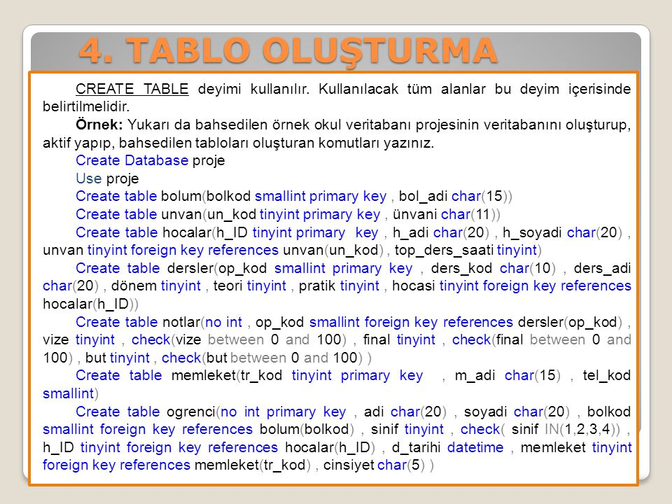 4. TABLO OLUŞTURMA CREATE TABLE deyimi kullanılır. Kullanılacak tüm alanlar bu deyim içerisinde belirtilmelidir. Örnek: Yukarı da bahsedilen örnek oku