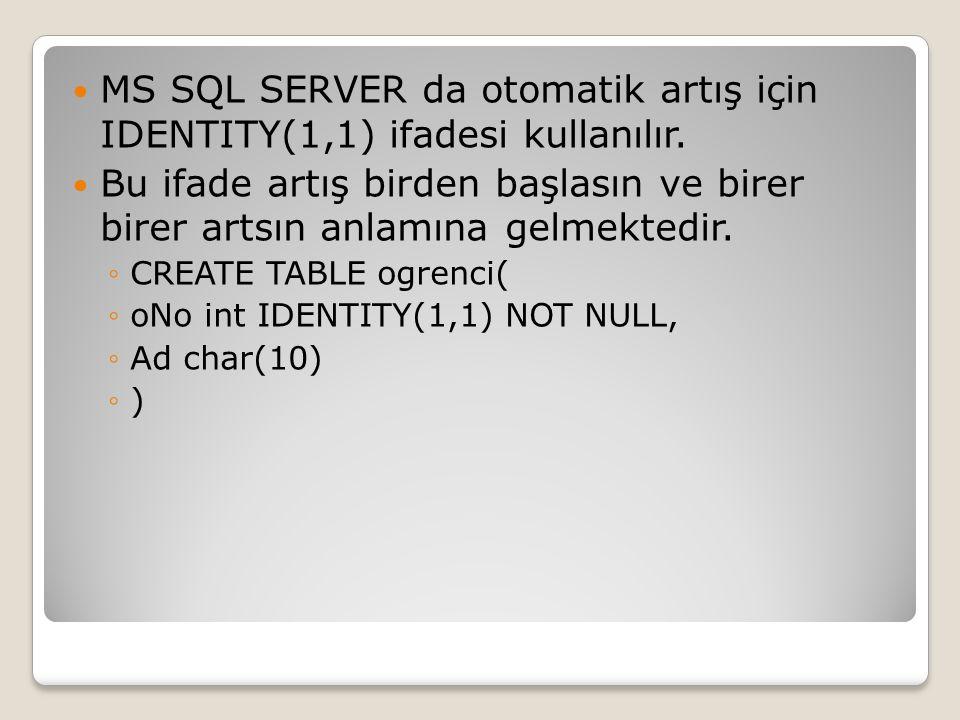 MS SQL SERVER da otomatik artış için IDENTITY(1,1) ifadesi kullanılır. Bu ifade artış birden başlasın ve birer birer artsın anlamına gelmektedir. ◦CRE