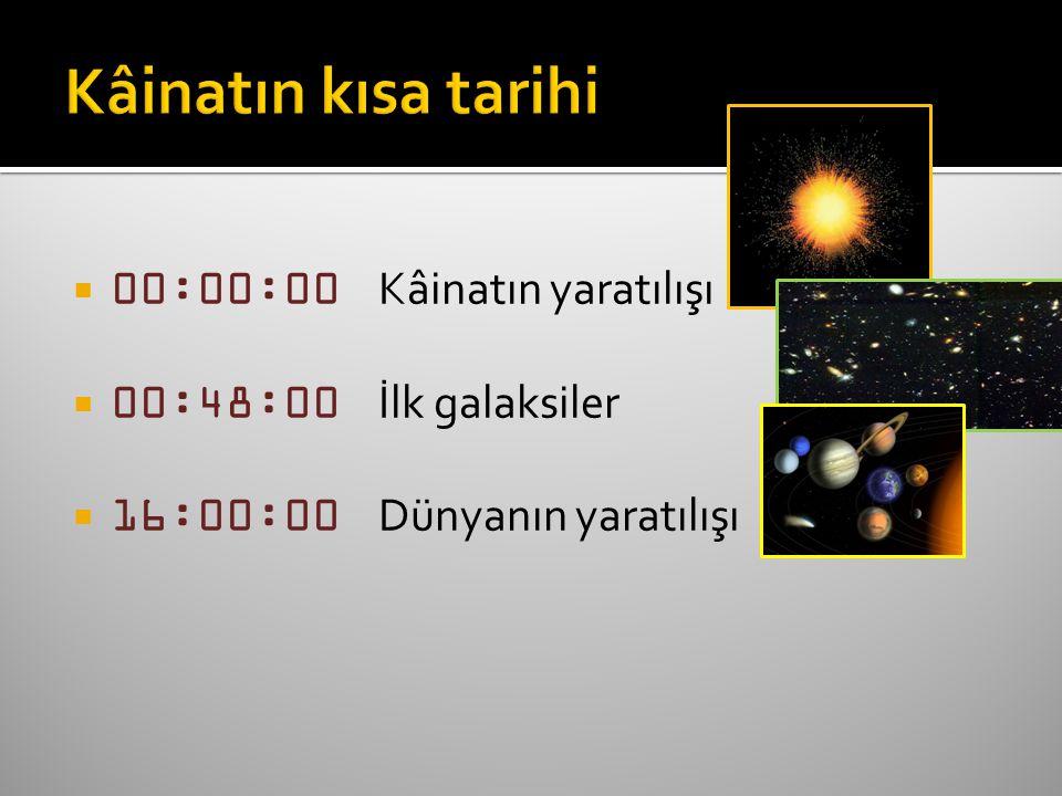  00:00:00 Kâinatın yaratılışı  00:48:00 İlk galaksiler  16:00:00 Dünyanın yaratılışı