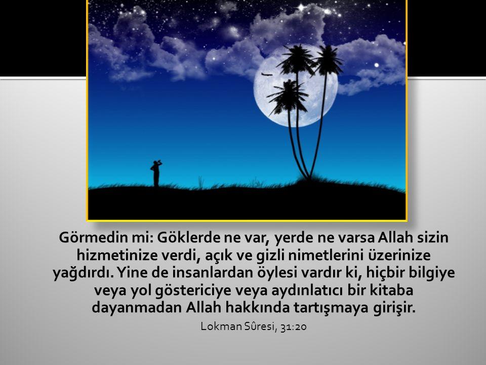 Görmedin mi: Göklerde ne var, yerde ne varsa Allah sizin hizmetinize verdi, açık ve gizli nimetlerini üzerinize yağdırdı.