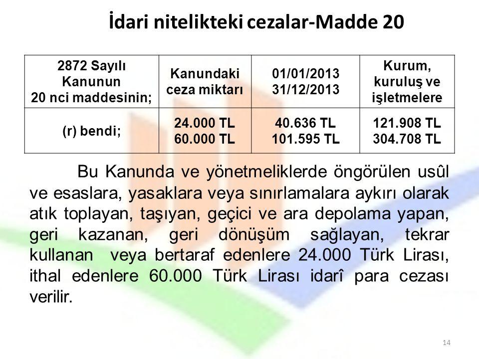 2872 Sayılı Kanunun 20 nci maddesinin; Kanundaki ceza miktarı 01/01/2013 31/12/2013 Kurum, kuruluş ve işletmelere (r) bendi; 24.000 TL 60.000 TL 40.63