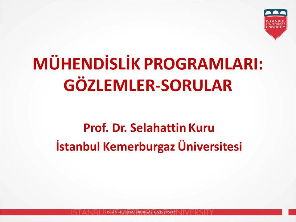 MÜHENDİSLİK PROGRAMLARI: GÖZLEMLER-SORULAR Prof.Dr.