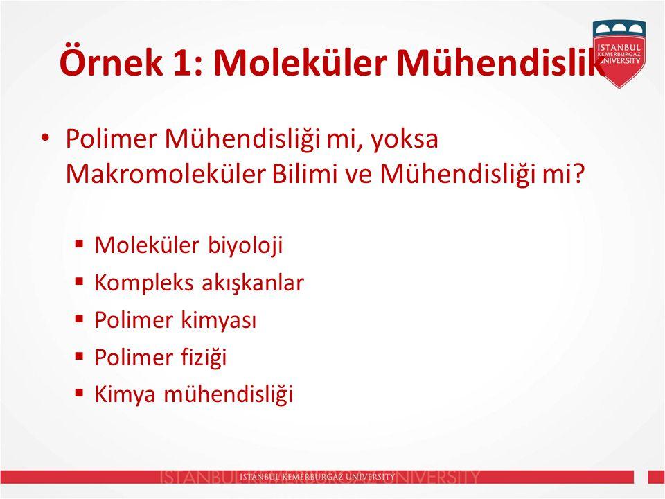 Örnek 1: Moleküler Mühendislik Polimer Mühendisliği mi, yoksa Makromoleküler Bilimi ve Mühendisliği mi.