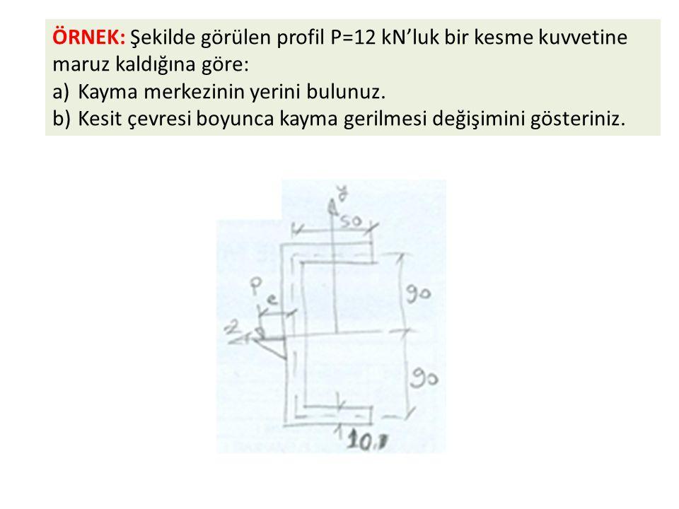 ÖRNEK: Şekilde görülen profil P=12 kN'luk bir kesme kuvvetine maruz kaldığına göre: a)Kayma merkezinin yerini bulunuz. b)Kesit çevresi boyunca kayma g