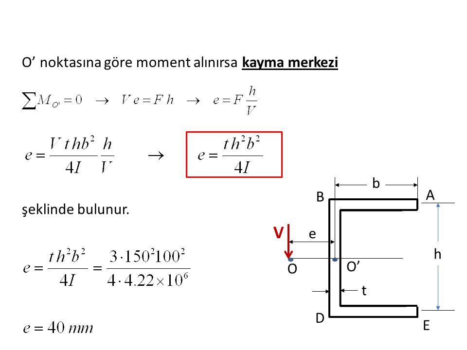 O' noktasına göre moment alınırsa kayma merkezi şeklinde bulunur. e b h t O O' A B D E V