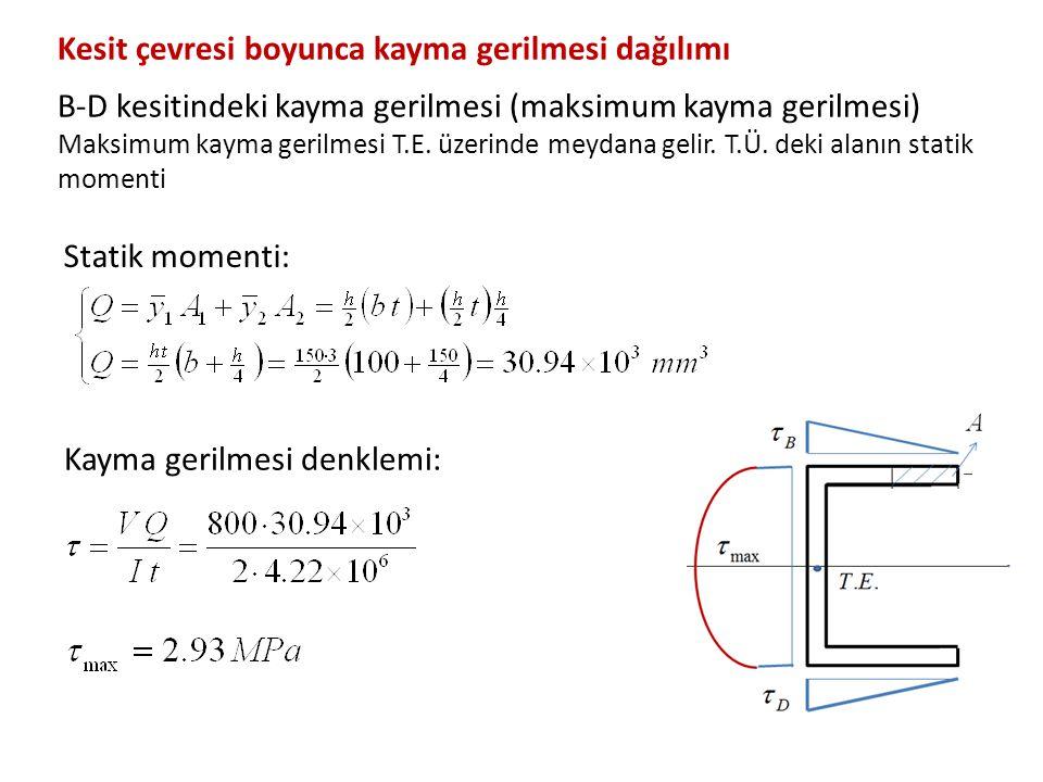 Statik momenti: Kayma gerilmesi denklemi: Kesit çevresi boyunca kayma gerilmesi dağılımı B-D kesitindeki kayma gerilmesi (maksimum kayma gerilmesi) Ma