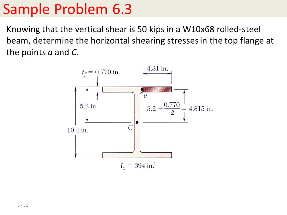 6 - 31 Sample Problem 6.3 Knowing that the vertical shear is 50 kips in a W10x68 rolled-steel beam, determine the horizontal shearing stresses in the