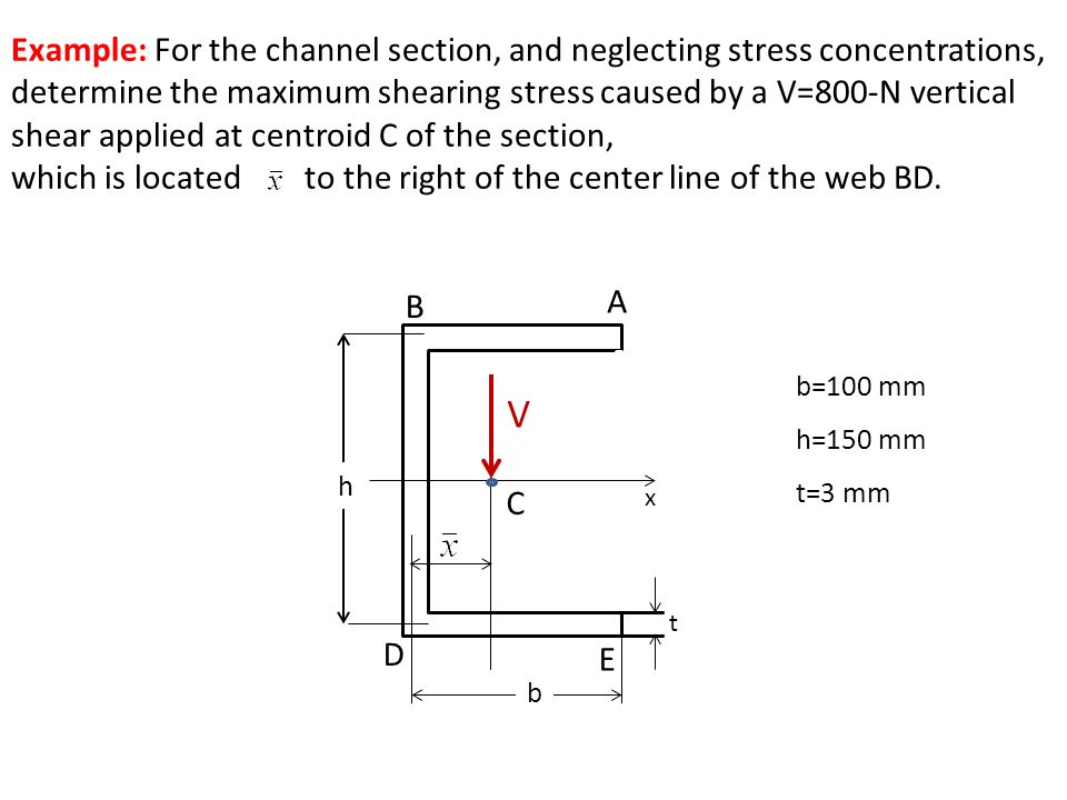 t V h b A C B E D b=100 mm h=150 mm t=3 mm Example: For the channel section, and neglecting stress concentrations, determine the maximum shearing stre