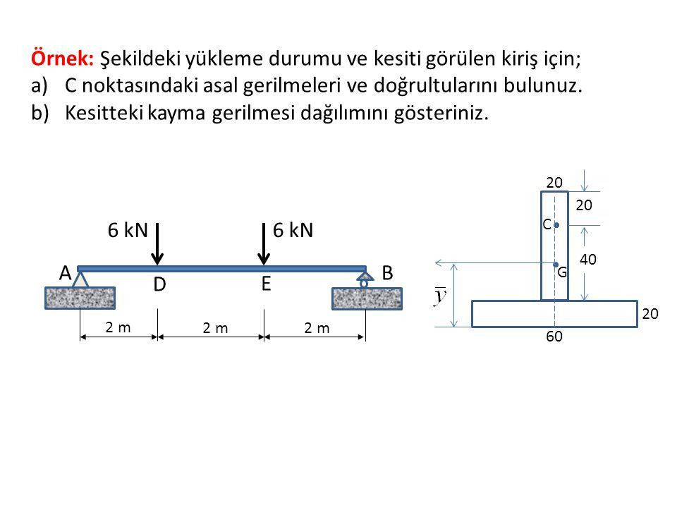 Örnek: Şekildeki yükleme durumu ve kesiti görülen kiriş için; a)C noktasındaki asal gerilmeleri ve doğrultularını bulunuz. b)Kesitteki kayma gerilmesi