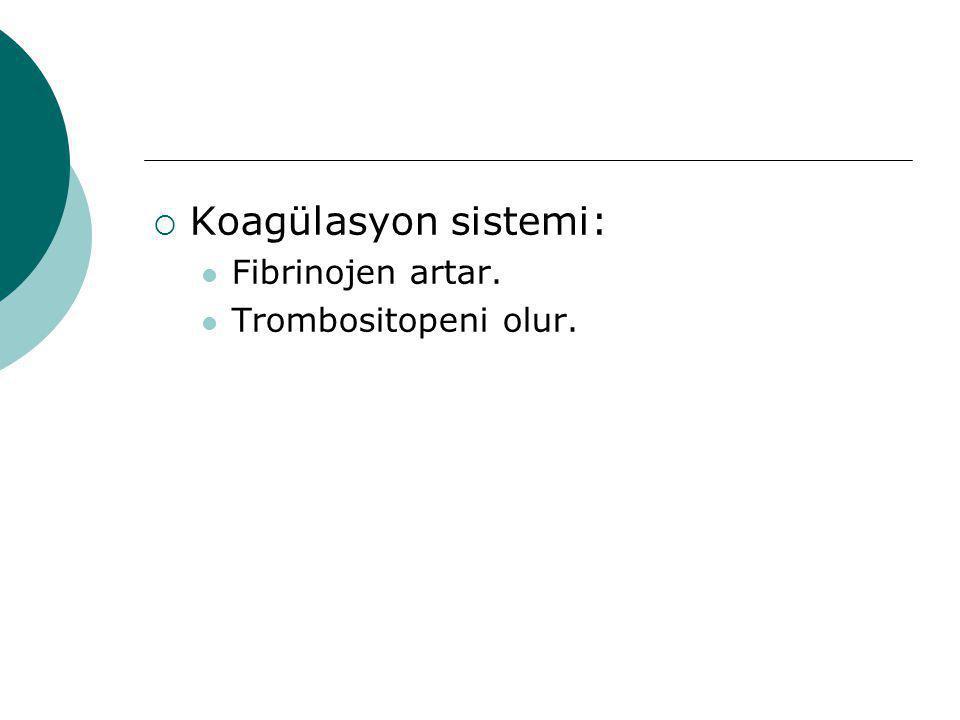  Koagülasyon sistemi: Fibrinojen artar. Trombositopeni olur.