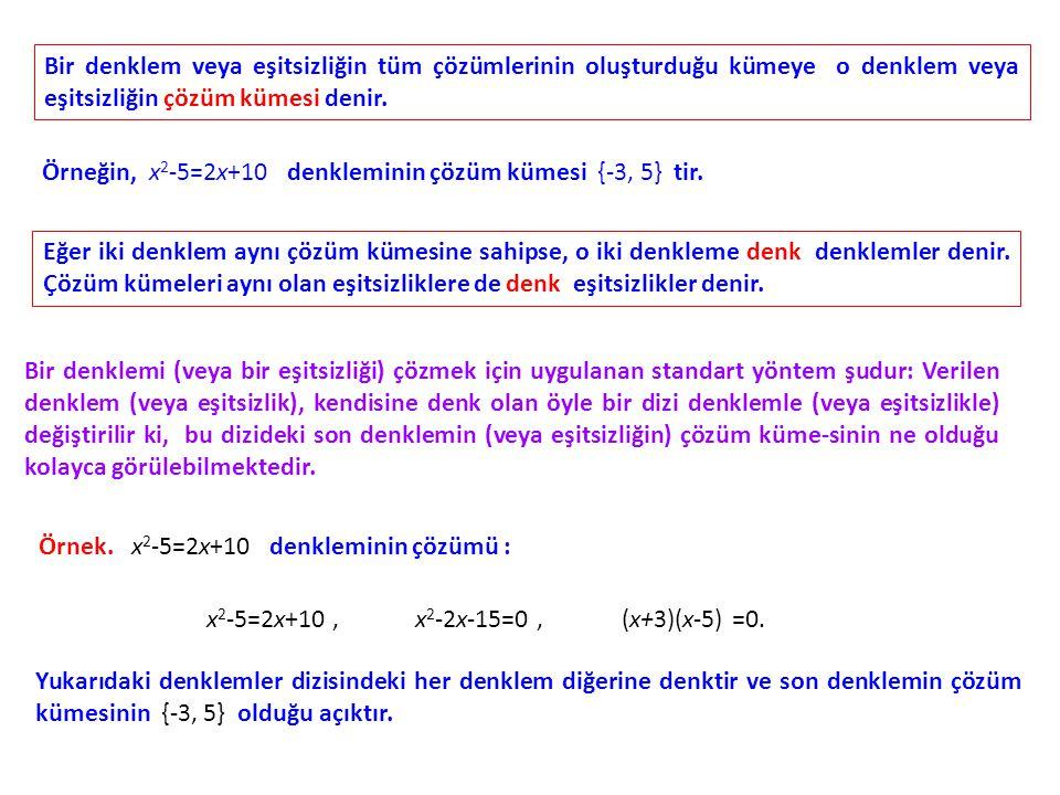 Bir denklem veya eşitsizliğin tüm çözümlerinin oluşturduğu kümeye o denklem veya eşitsizliğin çözüm kümesi denir. Örneğin, x 2 -5=2x+10 denkleminin çö