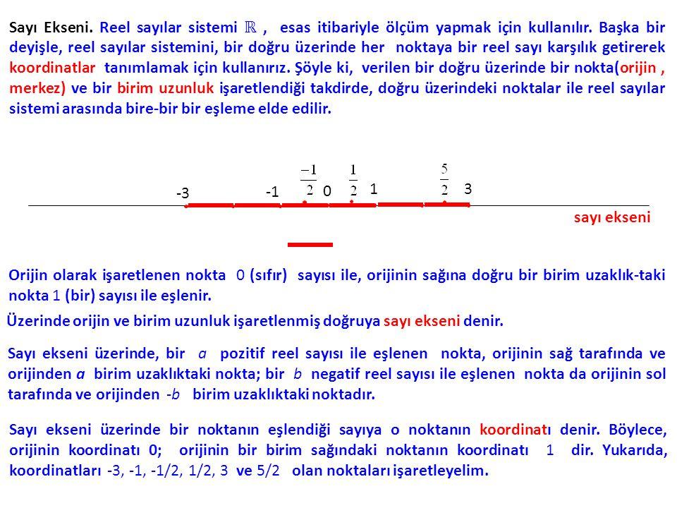 Sayı Ekseni. Reel sayılar sistemi ℝ, esas itibariyle ölçüm yapmak için kullanılır. Başka bir deyişle, reel sayılar sistemini, bir doğru üzerinde her n
