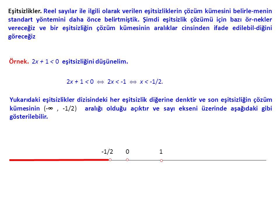Eşitsizlikler. Reel sayılar ile ilgili olarak verilen eşitsizliklerin çözüm kümesini belirle-menin standart yöntemini daha önce belirtmiştik. Şimdi eş