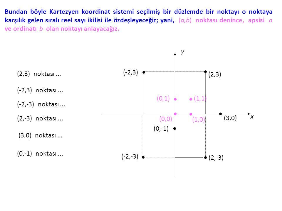 Bundan böyle Kartezyen koordinat sistemi seçilmiş bir düzlemde bir noktayı o noktaya karşılık gelen sıralı reel sayı ikilisi ile özdeşleyeceğiz; yani,